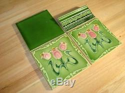 Art Nouveau 22 original period tiles for fireplace mantle surround GREEN & ROSE