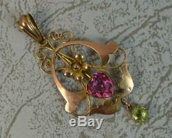 Art Nouveau 9 Carat Rose Gold Pink Heart & Green Stone Pendant p1998