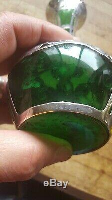 Art Nouveau American Emerald Green Glass & Sterling Silver Overlay