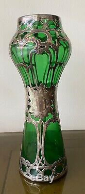 Art Nouveau Antique Green Glass Vase with Engraved Silver Overlay