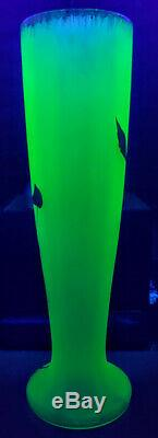 Art Nouveau Baccarat FR. Crystal Vaseline Satin Green Gold Gilded Vase C. 1900