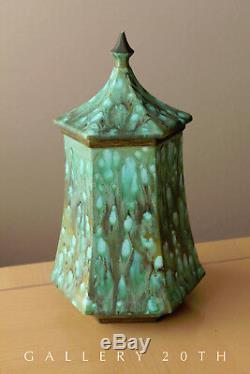 Art Nouveau! Blue Green Glaze Pottery! Porcelain Container Vase MID Century 70s