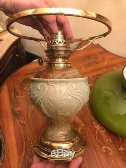 Art Nouveau Ceramic German Majolica Kerosene Lamp Kosmos Brenner Green Shade