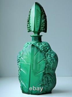 Art Nouveau Czech Bohemian Jade Green Art Glass decanter and 4 glasses