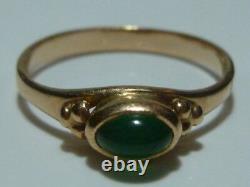 Art Nouveau Deco Green Glass / Stone Russian 14k 585 Gold Estate Ring Band Sz6.5