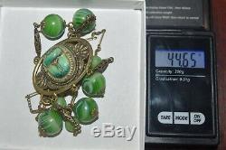 Art Nouveau Egyptian Revival Gold Gilt Green Slag Glass Enameled Scarab Necklace