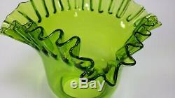 Art Nouveau French Antique Victorian Oil Lamp Green Glass Ruffled Shade 1910s