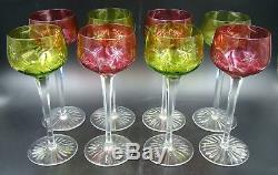 Art Nouveau French Baccarat Cut Crystal Green Emerald & Red Ruby Glasses Set 8