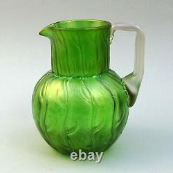 Art Nouveau Green Iridescent Glass Jug Loetz Neptun 16cm tall Antique