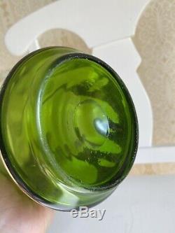 Art Nouveau Hand Blown Glass Green Pitcher