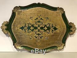 Art Nouveau Italian Florentine Wooden Tole Tray Wood Green & Gilt Platter RARE
