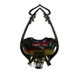 Art Nouveau Jugendstil Loetz Centerpiece Iridescent Art Glass Brass Ornate Bowl