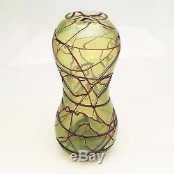 Art Nouveau, Jugendstil Pallme-König Art Glass Vase, Green Luster & Red ca. 1900