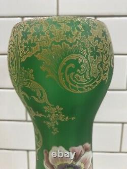 Art Nouveau LEGRAS Mont Joye Green Gold Moser Poppy Flower Vase French Enamel
