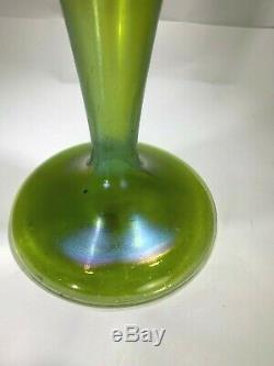 Art Nouveau Loetz 1900 Silberiris Green Iridescent Candle Stick 12