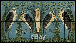 Art Nouveau Marabou StillLife Marble Tile Mural Backsplash 28x16 William Morris