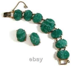 Art Nouveau Molded Green Czech Glass Bracelet & Earrings Gold Plated