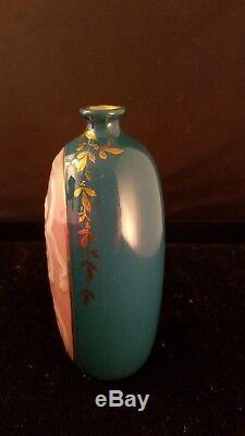 Art Nouveau Pate Sur Pate Green Cabinet Vase Nude Nymph 4 1/4h