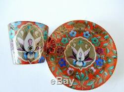 Art Nouveau Pirkenhammer Cup Saucer Persian Motif F&M Demitasse HP Fan Handle A