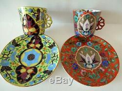 Art Nouveau Pirkenhammer Cup Saucer Persian Motif F&M Demitasse HP Fan Handle B
