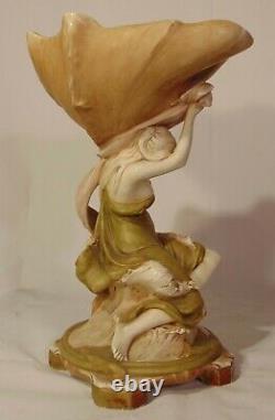 Art Nouveau Royal Dux Amphora Figural Bowl Vase Compote Maiden Woman Conch Shell