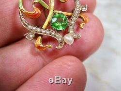 Art Nouveau Solid 14k Yellow Gold Seed Pearl Green Peridot Enamel Brooch Antique
