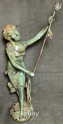 Art Nouveau Statue Woman Nymph Birds Bronze Cast Iron Garden Sculpture Patio