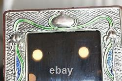 Art Nouveau Sterling Silver Blue Green Enamel Photo Picture Frame Hallmarked