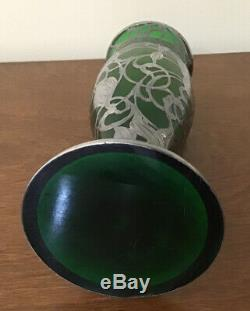 Art Nouveau Sterling Silver Overlay Green Glass 10 Inch Vase, c. 1910