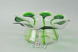 Art Nouveau Stuart & Sons Green Peacock Eye & Trailed Glass Bowl C. 1905