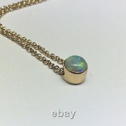 Art Nouveau Style 14K Yellow Gold Bezel Set Crystal Opal Pendant (18 1/2)