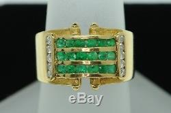 Art Nouveau Style 18K Yellow Gold Wide Emerald and Diamond Band Ring (Sz 6 1/4)
