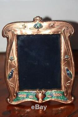Art Nouveau Style Copper Frame Blue Green Enamel With Kingfisher Birds