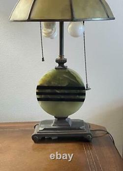 Art Nouveau Table Lamp Art Deco Onyx Lamp Glass Finial Dual Sockets