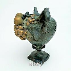 Art Nouveau Turn-Teplitz Austria Amphora Vase with Applied Fruit Motif