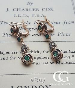 Art Nouveau Vintage Style 9ct Rose Gold Emerald & Diamond Drop Earrings