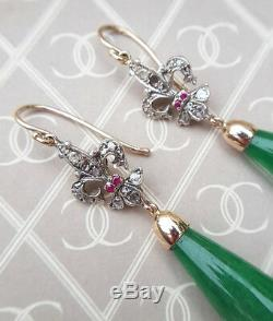 Art Nouveau Vintage Style 9ct Rose Gold, Jade, Diamond & Ruby Drop Earrings
