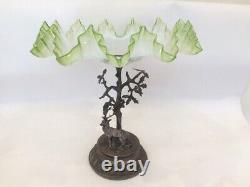 Art Nouveau WMF Silver Plate Deer And Green Glass Centrepiece