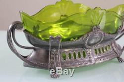 Art Nouveau WMF green glass insert centerpiece
