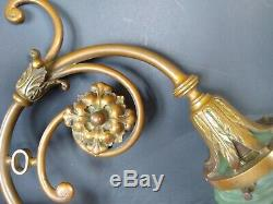 Art Nouveau Wall Sconce iradescent green glass globe Sconce Brass HEAVYWEIGHT
