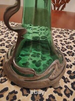 Art Nouveau Wmf Wurttenberg Metal Factory 1884-1914 Pewter Glass Decanter Ribbed