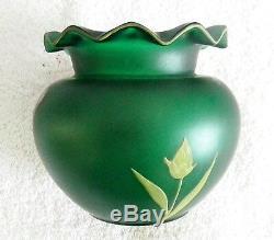 Art nouveau Mont Joye art glass vase hand painted flowers