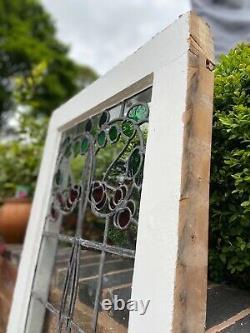 Arts & Crafts Large Lead Stained Glass Window Rare Vintage Art Nouveau