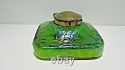 Attributed Loetz Art Nouveau Iridescent Green Glass Inkwell
