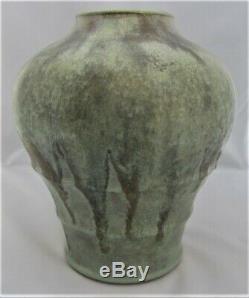 Auguste Delaherche, large Art Nouveau stoneware vase with green glaze, c1901