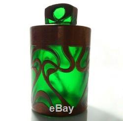 Austrian Art Nouveau Early 20th C Vint Copper Overlay Emerald Grn Glass Jar/lid