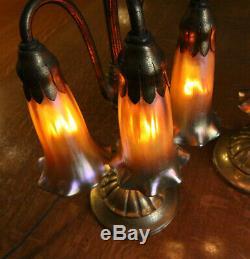 Authentic Tiffany Studios 3 Lite Lily Lamp