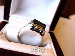 BELAIS ANTIQUE 10K WHITE GOLD RING with FINE NATURAL GREEN TOURMALINE, ART DECO