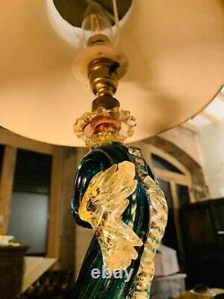 Barovier & Toso Murano 1940s Green Glass Fish Dolphin Table Lamp, Regency, 24k