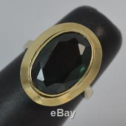 Beautiful 8ct Gold Art Nouveau Design Green Stone Ring F0238